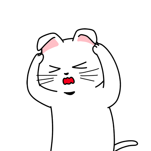怒られる・頭を抱える猫のイラスト