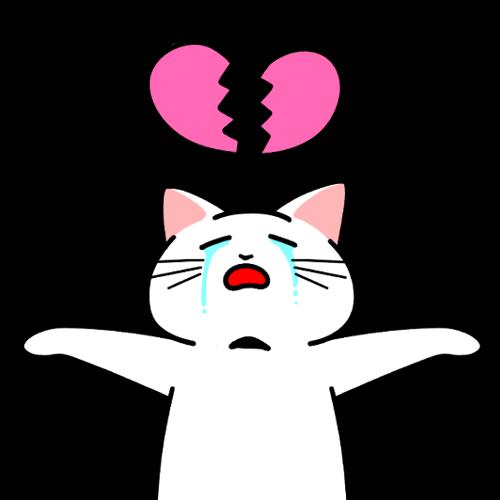 失恋して泣く猫のイラスト